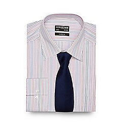 The Collection - Multi-coloured striped print regular fit shirt with a tie