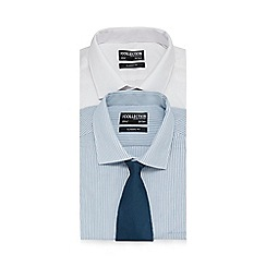 The Collection - Big and tall pack of two plain white and striped shirt and tie set