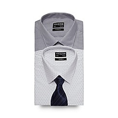The Collection - Set of two blueprinted tailored fit shirts and tie