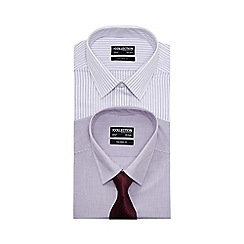 The Collection - Big and tall pack of two purple tailored fit shirts