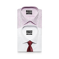 The Collection - Big and tall pack of two assorted classic fit shirts with a tie