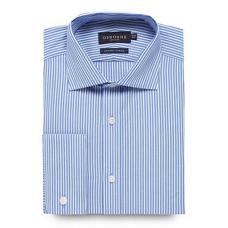 Osborne - Blue tailored fit twill striped shirt