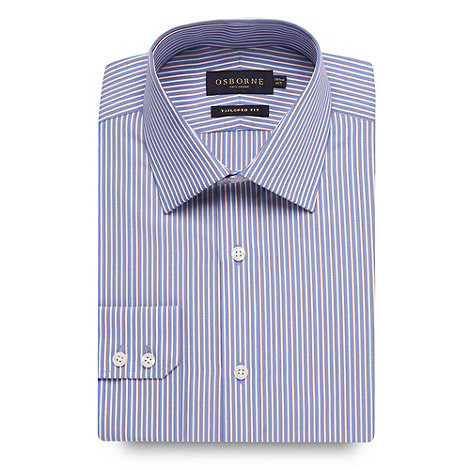 Osborne - Blue contrast striped long sleeved shirt