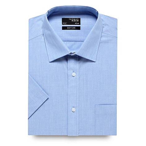 Thomas Nash - Big and tall pale blue cotton mix short sleeve shirt