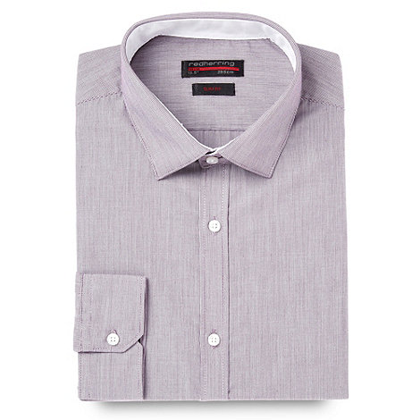 Red Herring - Dark purple striped long sleeved button cuffed Slim fit shirt