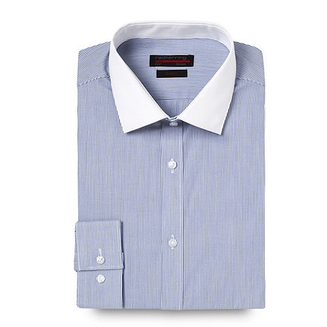 Red Herring Red Line - Blue fine striped long sleeved Slim fit shirt