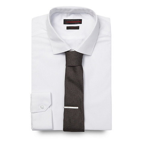Red Herring Red Line - White slim fitting button cuffed shirt and skinny tie set Slim fit