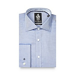 Jeff Banks - Blue diamond textured tailored fit shirt