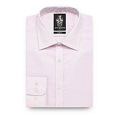 Jeff Banks - Big and tall pink square print slim fit shirt