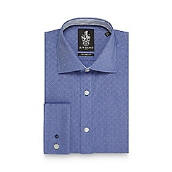 Jeff Banks - Big and tall blue striped dobby slim fit shirt