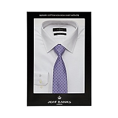 Jeff Banks - Big and tall white textured tailored fit shirt and tie