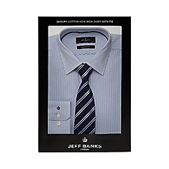 Jeff Banks - White striped tailored fit shirt and tie