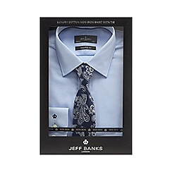 Jeff Banks - Big and tall blue textured tailored fit shirt with a tie