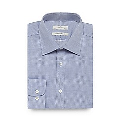 J by Jasper Conran - Big and tall navy dobby textured tailored fit shirt