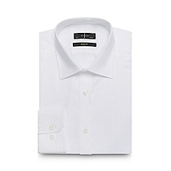 J by Jasper Conran - Big and tall white textured button down slim fit shirt