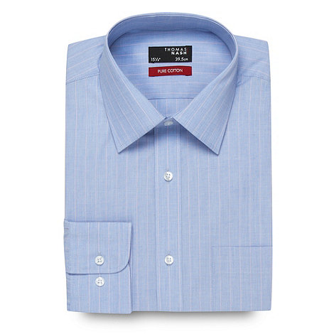 Thomas Nash - Big and tall blue fine striped extra long sleeved shirt