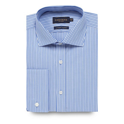 Osborne - Blue twill striped extra long sleeve shirt