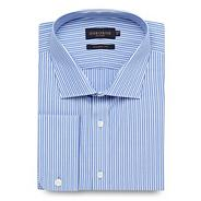 Big and tall blue regular fit twill striped long sleeved shirt