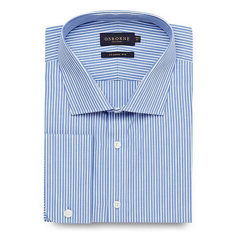 Osborne - Big and tall blue regular fit twill striped long sleeved shirt