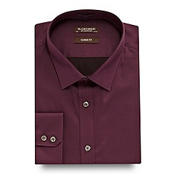 St George by Duffer - Big and tall purple regular fit plain sateen shirt