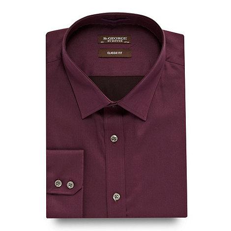 St George by Duffer - Big and tall purple regular fit plain sateen shirt