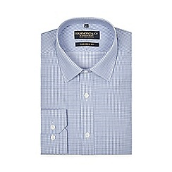 Hammond & Co. by Patrick Grant - Blue dobby square print tailored fit shirt