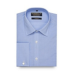 Hammond & Co. by Patrick Grant - Big and tall blue checked slim fit shirt