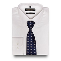 Hammond & Co. by Patrick Grant - Big and tall white textured tailored fit shirt with a tie