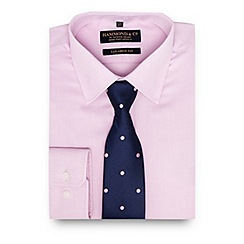 Hammond & Co. by Patrick Grant - Big and tall pink textured tailored fit shirt with a tie