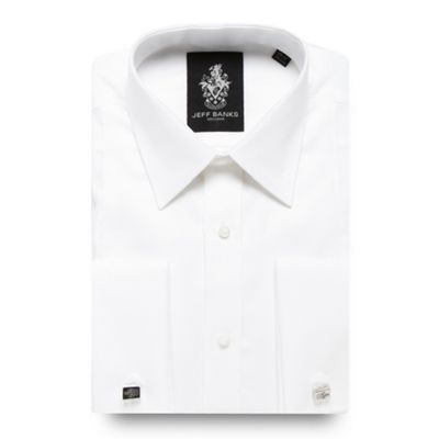 Designer white grid panelled regular fit dress shirt Image