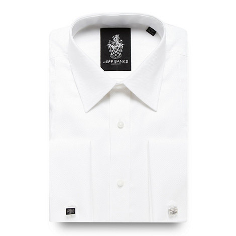 Jeff Banks - Designer white grid panelled regular fit dress shirt