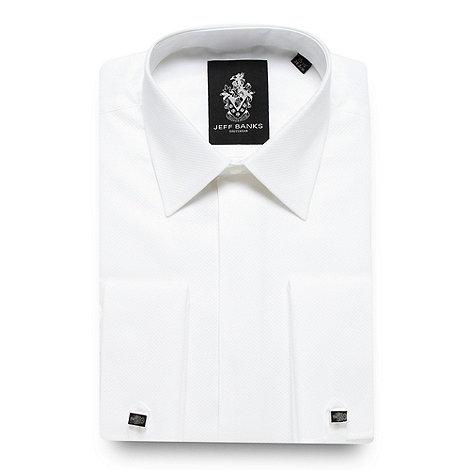 Jeff Banks - Designer white grid textured regular fit dress shirt