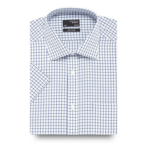 Thomas Nash - Blue grid checked shirt