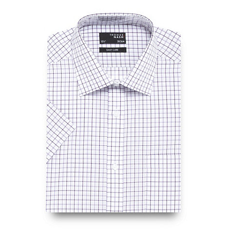 Thomas Nash - Lilac grid checked shirt