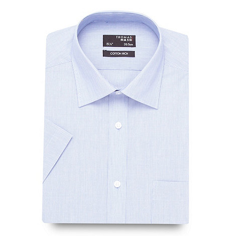 Thomas Nash - Big and tall blue fine stripe shirt