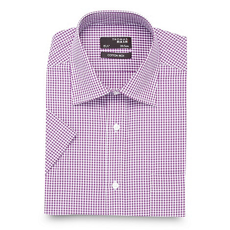Thomas Nash - Big and tall purple gingham shirt