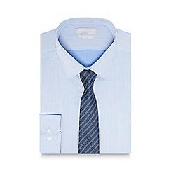 Red Herring - Blue herringbone slim fit shirt