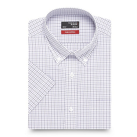 Thomas Nash - Big and tall lilac grid checked shirt