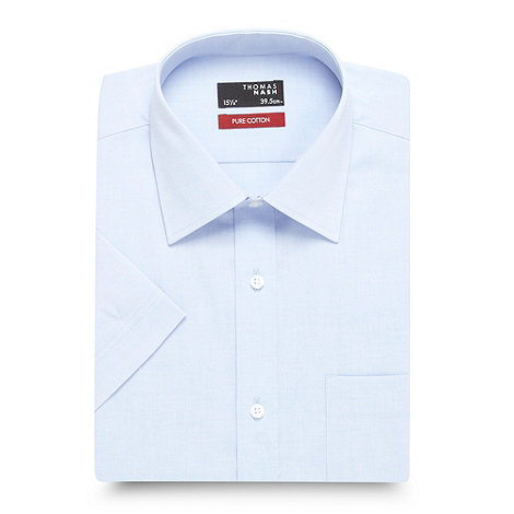 Thomas Nash - Big and tall light blue plain cotton shirt
