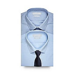 Red Herring - Pack of two blue striped and textured slim fit shirts with tie