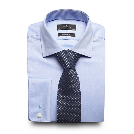 Jeff Banks - Designer blue textured shirt and geometric tie set