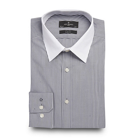 Jeff Banks - Designer grey fine striped long sleeved cotton shirt
