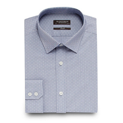 St George by Duffer - Blue polka dot woven shirt