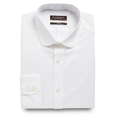 St George by Duffer - White sateen penny collar long sleeved shirt