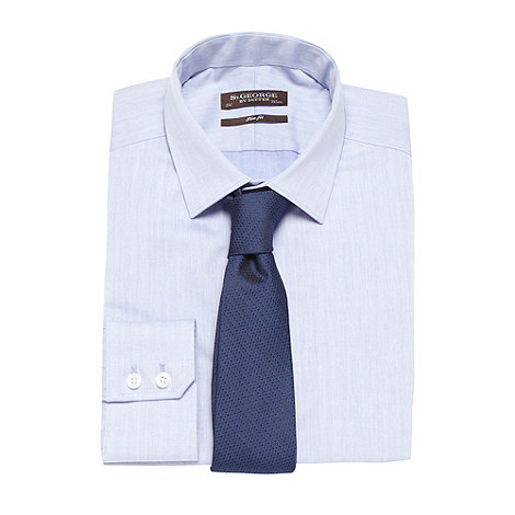 St George by Duffer - Blue chambray shirt and navy tie set
