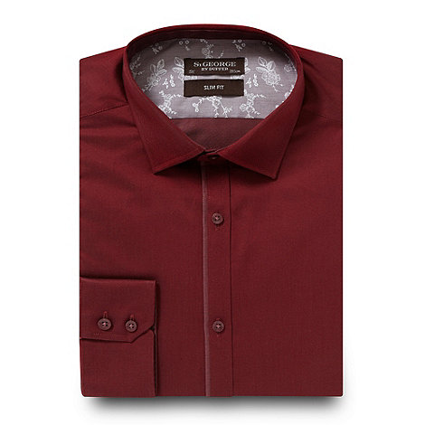 St George by Duffer - Wine slim fit twill shirt