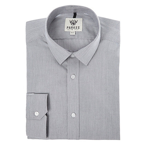 Parkes - Grey fine striped long sleeved shirt