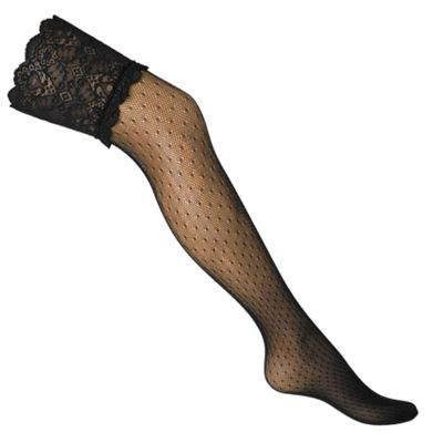 Designer black sheer spot net hold ups