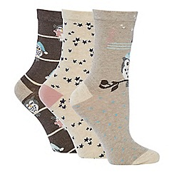 The Collection - 3 pack cotton blend ankle socks
