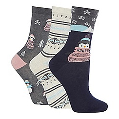 The Collection - 3 pack printed cotton blend ankle socks